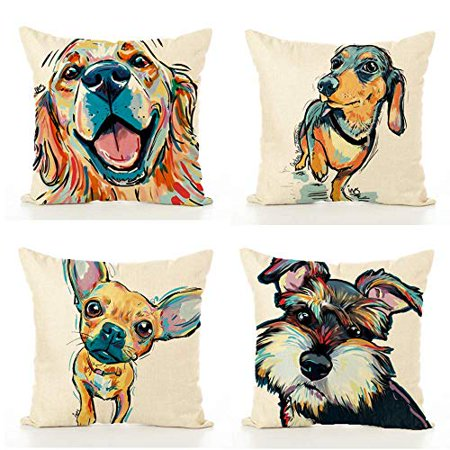 Rylablue Set Of 4 Pillow Cases Animal Protectors Car Indoor Colored Dogs Cute Cartoon Modern Simple Atmosphere Throw Pillowcase Cover Cushion Case Home Decor Walmart Canada