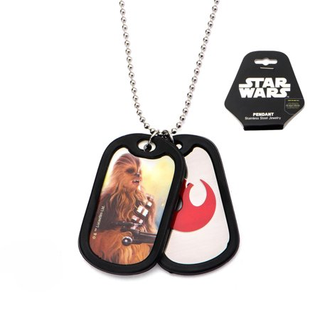 Rubber Silencer - Men's Stainless Steel Episode 7 Rebel Chewbacca with Rubber Silencer Double Dog Tag Pendant Necklace