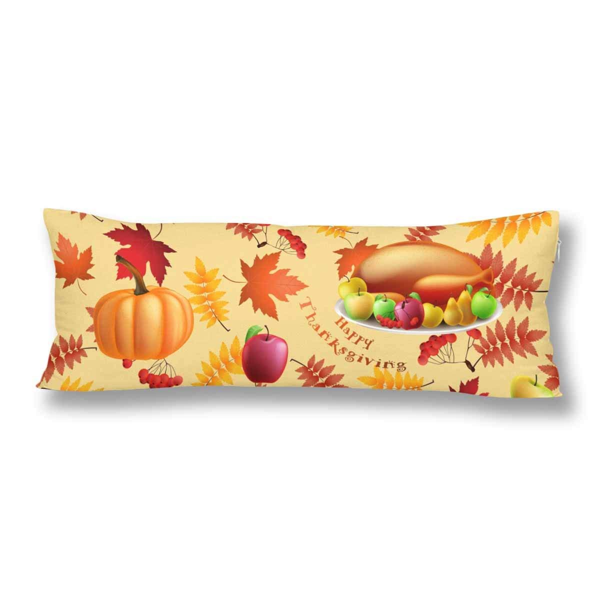 ABPHOTO Fall Thanksgiving Harvest Body Pillow Covers Pillowcase 20x60 inch Autumn Turkey Pumpkin Maple Leaf Body Pillow Case Protector