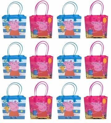 12PCS Peppa Pig Goodie Party Favor Gift Birthday Loot Reusable Bags - Peppa Pig Party Theme