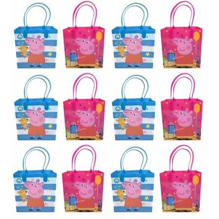 - 12PCS Peppa Pig Goodie Party Favor Gift Birthday Loot Reusable Bags New!