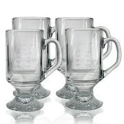 Susquehanna Glass Clipper Ship Hand-Cut 10 oz. Glass Beer Mug (Set of 4)