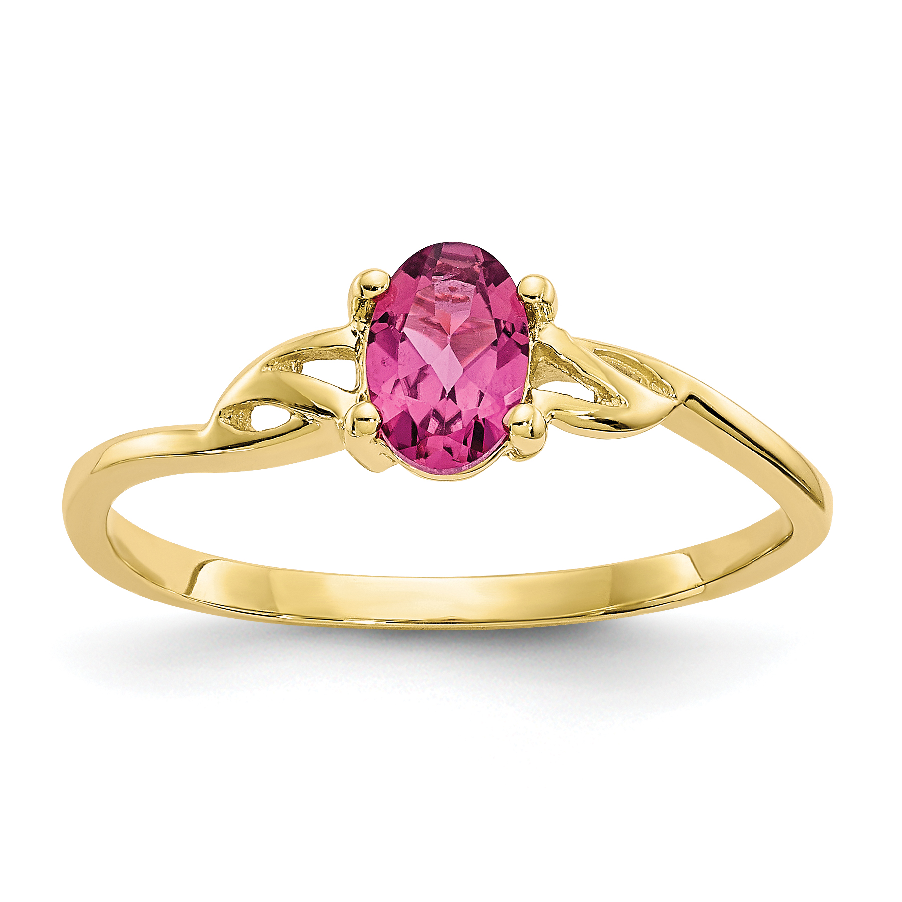 10k Polished Geniune Pink Tourmaline Birthstone Ring by Saris and Things QG