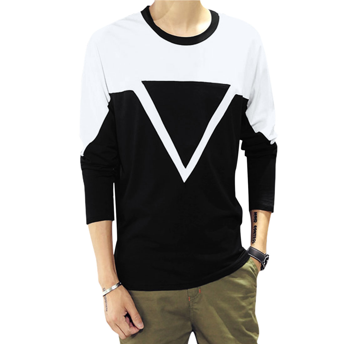 Men Long Sleeve Contrast Color Casual Tee Shirt Whites Black M