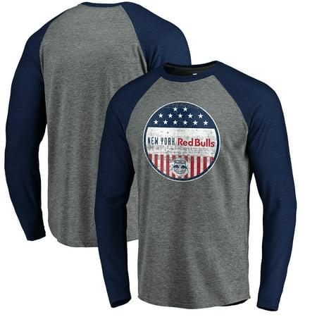 New York Red Bulls Fanatics Branded Americana Parade Pin Long Sleeve Tri-Blend Raglan T-Shirt - Heathered Gray (Halloween Parade 2017 New York)
