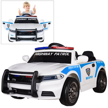 12V Highway Patrol Police Ride On Car for Kids with 2.4G Remote Control, Siren Flashing Light, Intercom, Bumper Guard, Openable Doors](Kids Police Cars)
