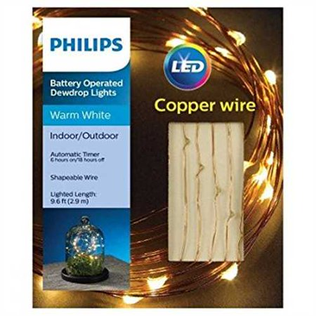 check out 064b6 46d67 Philips 30 ct Dewdrop Battery-Operated Fairy String Lights- Warm White with  Copper Wire