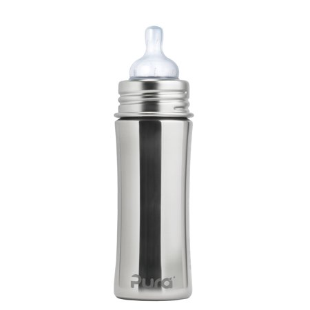 Pura Kiki 11 oz / 325 ml Stainless Steel Infant Bottle with Silicone Nipple, Natural Mirror (Plastic Free, NonToxic Certified, BPA Free)
