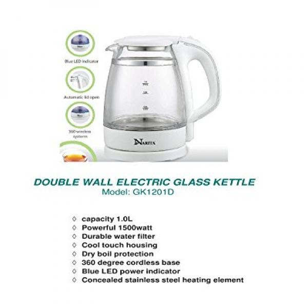 Narita Trading HND® 1.0 L Electric Glass Kettle ,Double W...