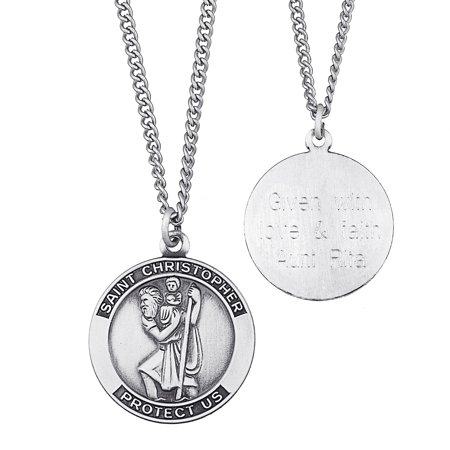 Personalized Sterling Silver Engraved St. Christopher Medal Necklace, - Personalized Medals