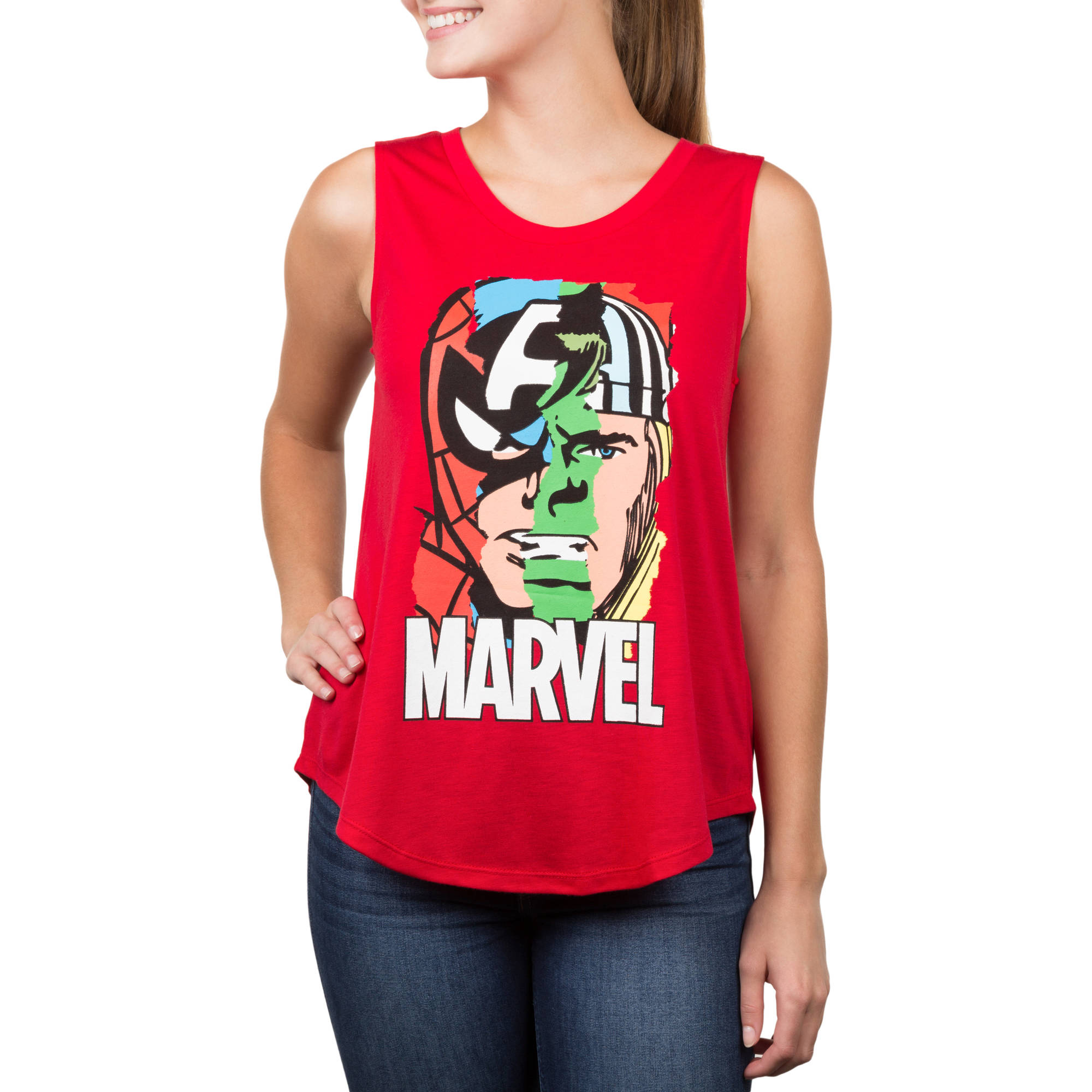 Marvel Juniors' Chiffon Back Graphic Tank
