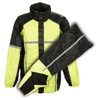 Milwaukee Leather Rainsuits MPM9510 Men's Black and Neon Green Water Resistant Rain Suit with Hi Vis Reflective Tape Hi-Viz Neon