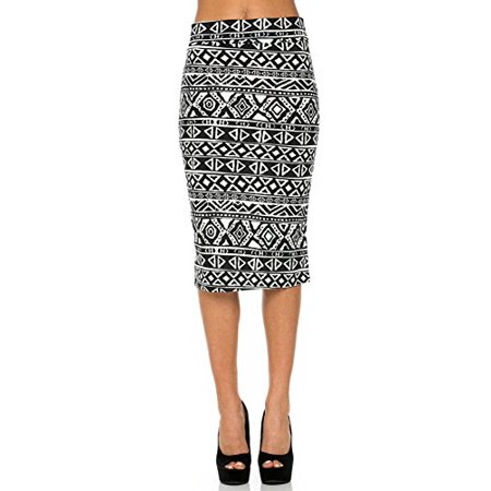 Sassy Apparel Womens Spring Summer Patterned Casual to Office Pencil Bodycon Fashion Skirt (Large,