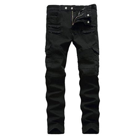 Men's Motorcycle Denim Biker Jeans with Zippers Stretch for Men Skinny Trousers Slim Fit Pants with Pockets