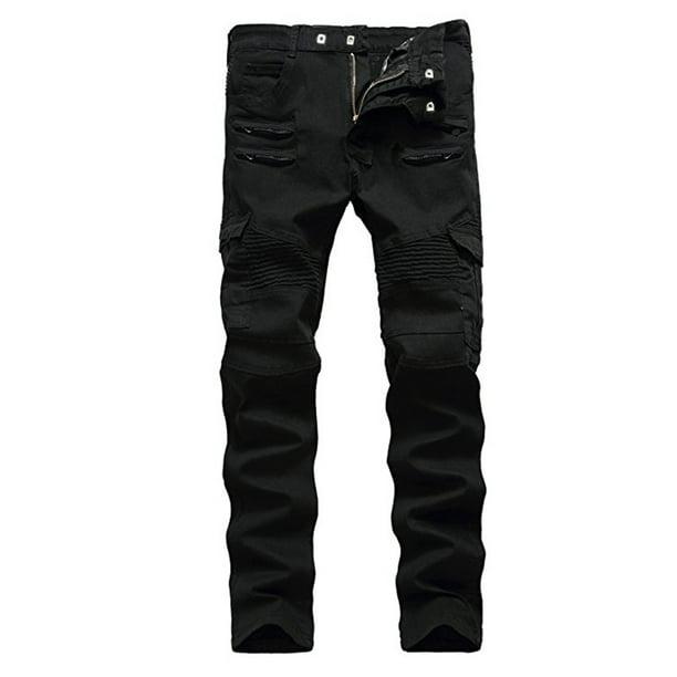 Black Powered Leather Motorcycle // Biker Trousers // Jeans Rocker