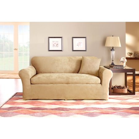 Sure Fit Stretch Suede 3-Piece Loveseat Slipcover
