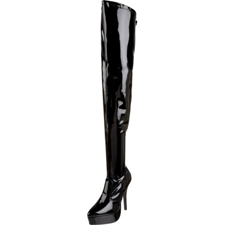 Red Thigh High Boots (Womens Thigh High Boots 5 Inch Heels Black Patent Poly or Red Shoes)