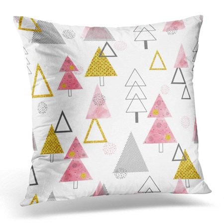 ARHOME Black Watercolor Christmas Trees Pattern in Retro Style Holiday Pink 80S Pillow Case Pillow Cover 20x20 - 80s Decorating Style