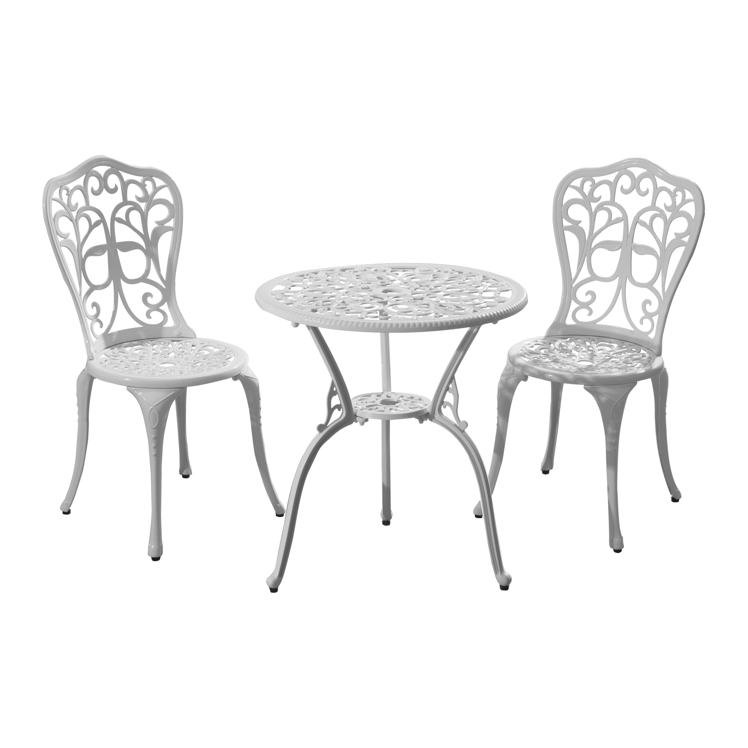 Outsunny 3pc All-Weather Bistro Outdoor Table and Chair Set