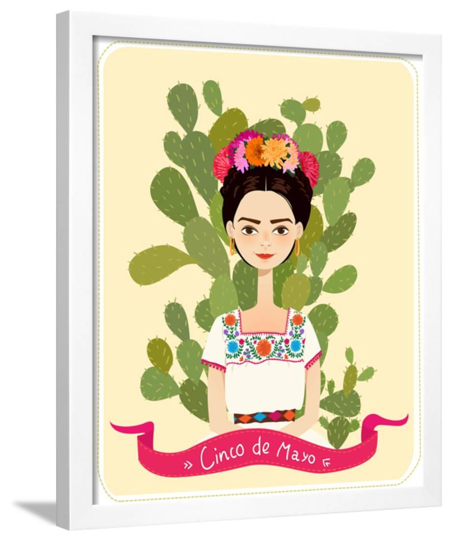 a3dabefa306e Cute Mexican Girl in an Ancient Dress. Cactus in the Background ...