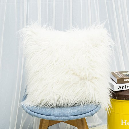 Nicesee Fluffy Solid Color Square Throw Pillow Case Cushion Cover Home Decor 18