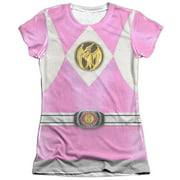 Mighty Morphin Power Rangers Pink Ranger Emblem Juniors Sublimation Shirt