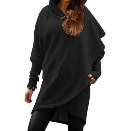 Women Long Sleeve Asymmetric Hem Slim Hooded Sweatshirts Tunic Tops