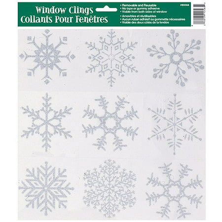 (10 pack) Glitter Snowflakes Holiday Window Cling Sheet, Silver, 1ct - Snowflake Window Clings