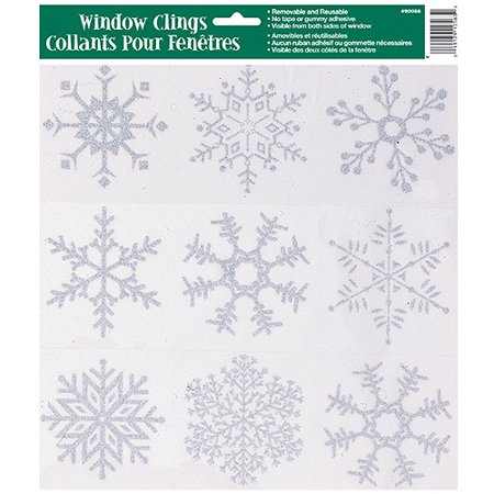 (10 pack) Glitter Snowflakes Holiday Window Cling Sheet, Silver, 1ct (Snowflake Decals)