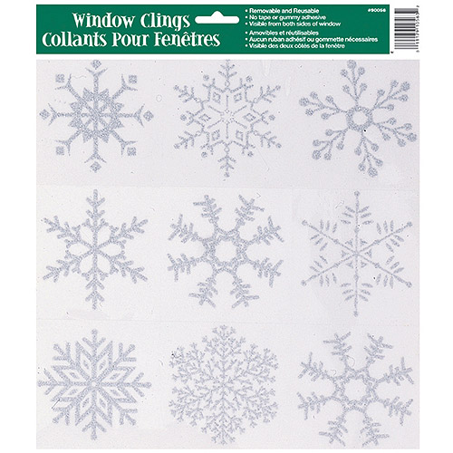 (10 pack) Glitter Snowflakes Holiday Window Cling Sheet, Silver, 1ct