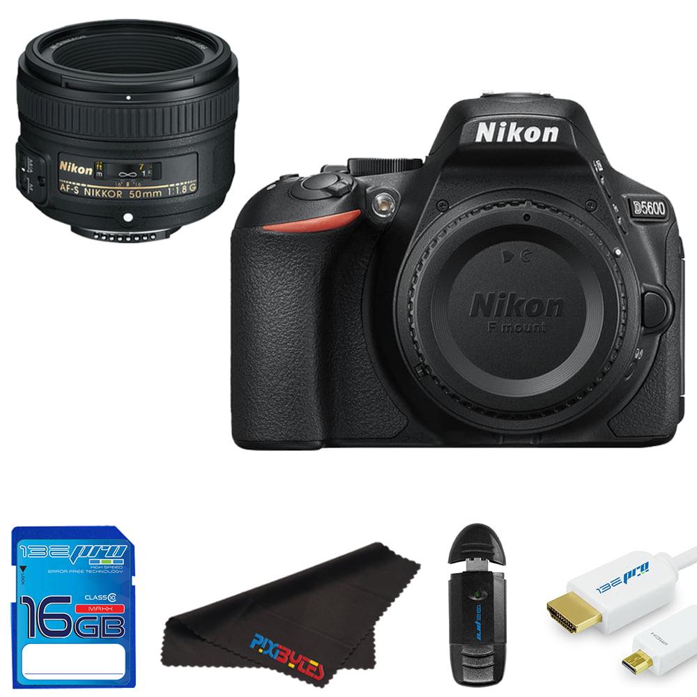 Nikon D5600 DSLR Camera + Nikon AF-S DX NIKKOR 50mm f/1.8G Lens + Pixi Starter Bundle Kit