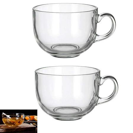 Set of 2 Large 16oz Glass Wide Mouth Coffee Mug Tea Cup With (Large Glass Mug)