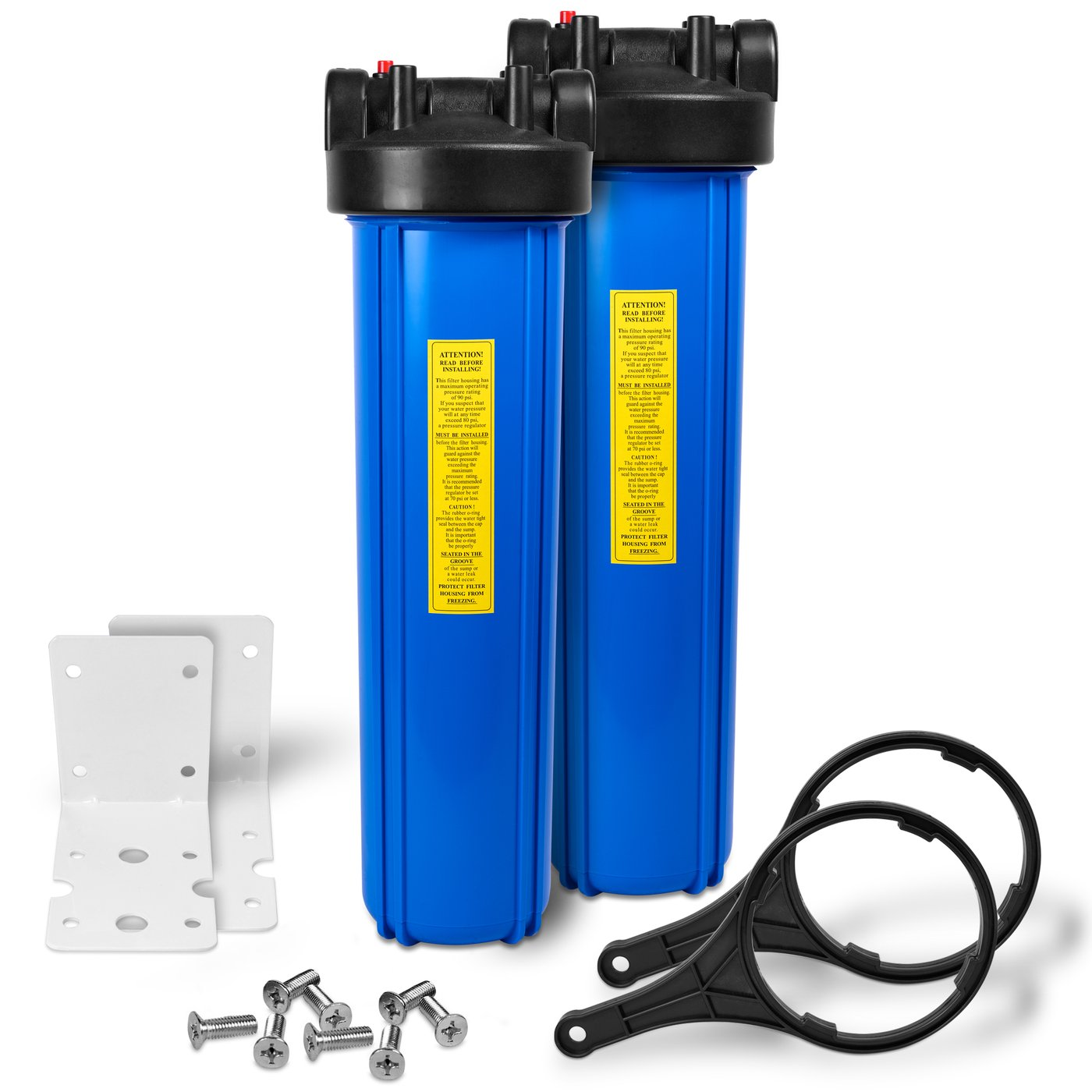"20"" Big Blue Housing for Whole House Water Filtration System, 1"" Brass Port, Mounting Hardware (2 pack)"