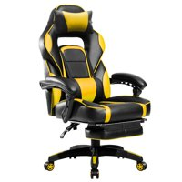AOOLIVE Gaming Chair-Ergonomic Footrest Adjustable Armrests, the Headrest and Lumbar Support filled with sponge (Yellow)