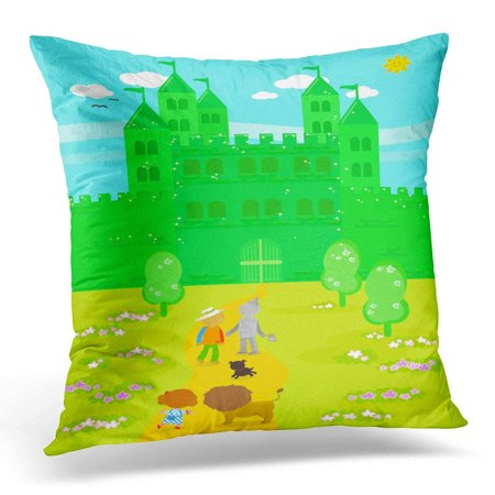 CMFUN Yellow Castle The Wizard of Oz Dorothy with Her Dog Scarecrow and Tin Man Arrived at Emerald City Pillow Case Pillow Cover 20x20 inch](Dorothy Wizard Of Oz Dog)