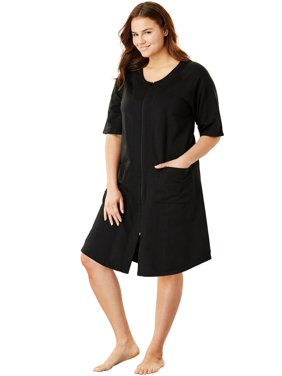 Plus Size Short Sleeve French Terry Robe By Dreams & Co.