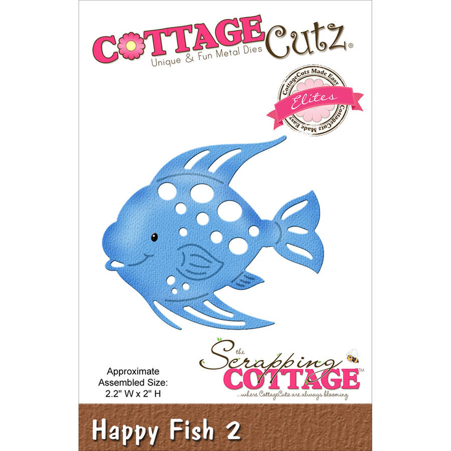 "CottageCutz Elites Die, Happy Fish #2, 2.2"" x 2"""