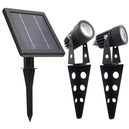 Mini 50X Twin Solar-Powered Cast Aluminium Warm White LED Spotlight 60 Lumen Per Light Fixture for Outdoor Garden Yard Landscape Downlight