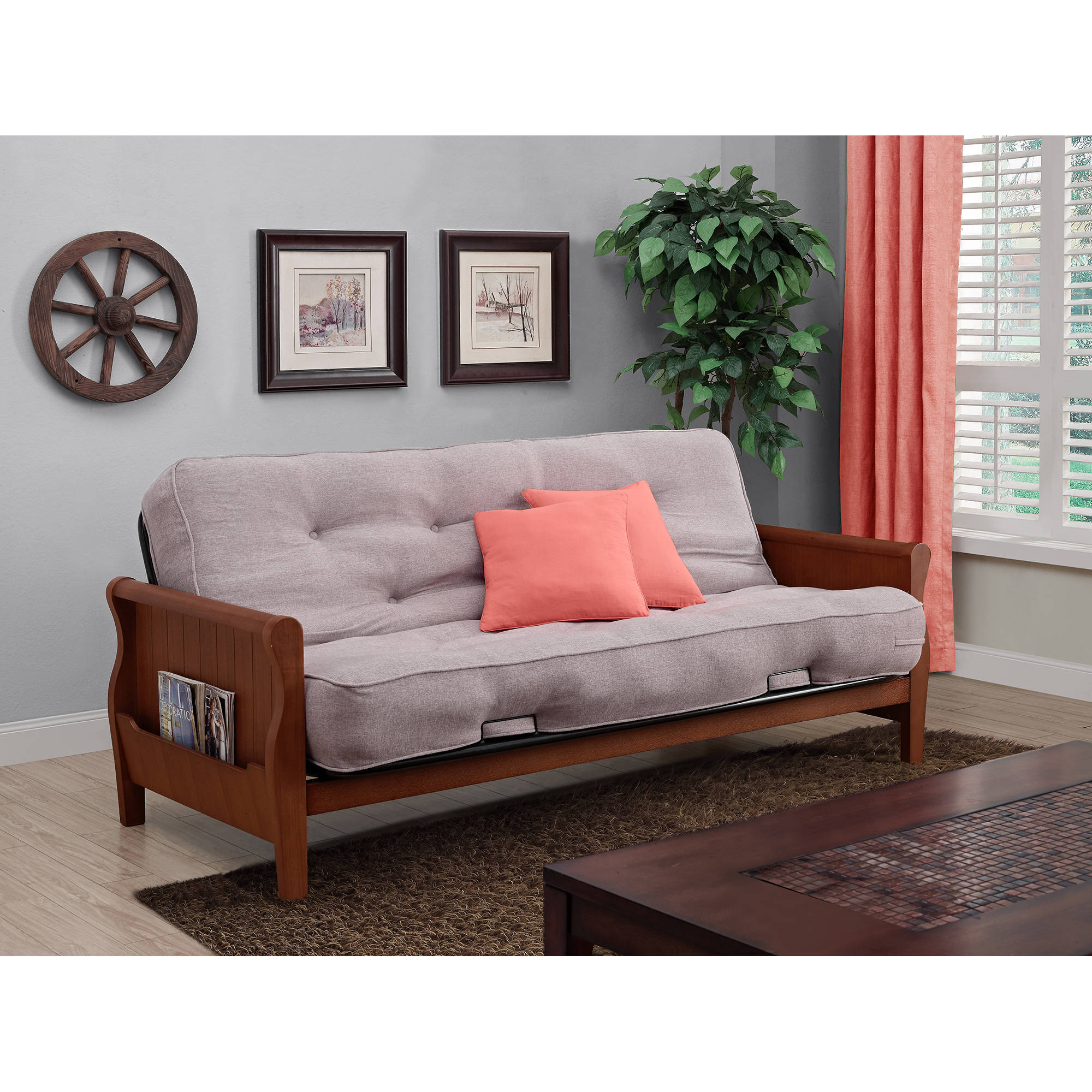 """Better Homes and Gardens Wood Arm Futon with 8"""" Coil Mattress, Taupe"""