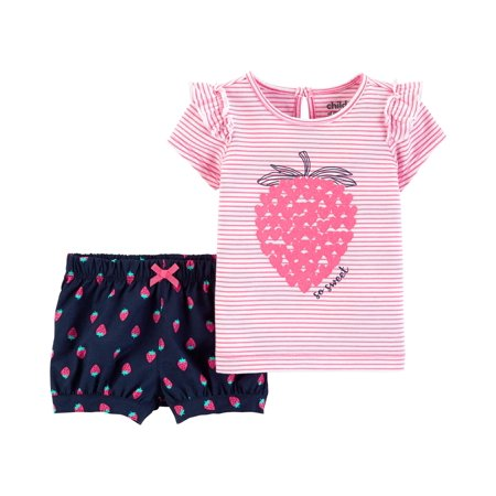 Short Sleeve T-Shirt and Shorts Outfit, 2 Piece Set (Baby Girls) (Carter's Baby Halloween)