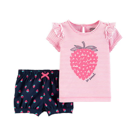 Nike Kids Girls Sets - Short Sleeve T-Shirt and Shorts Outfit, 2 Piece Set (Baby Girls)