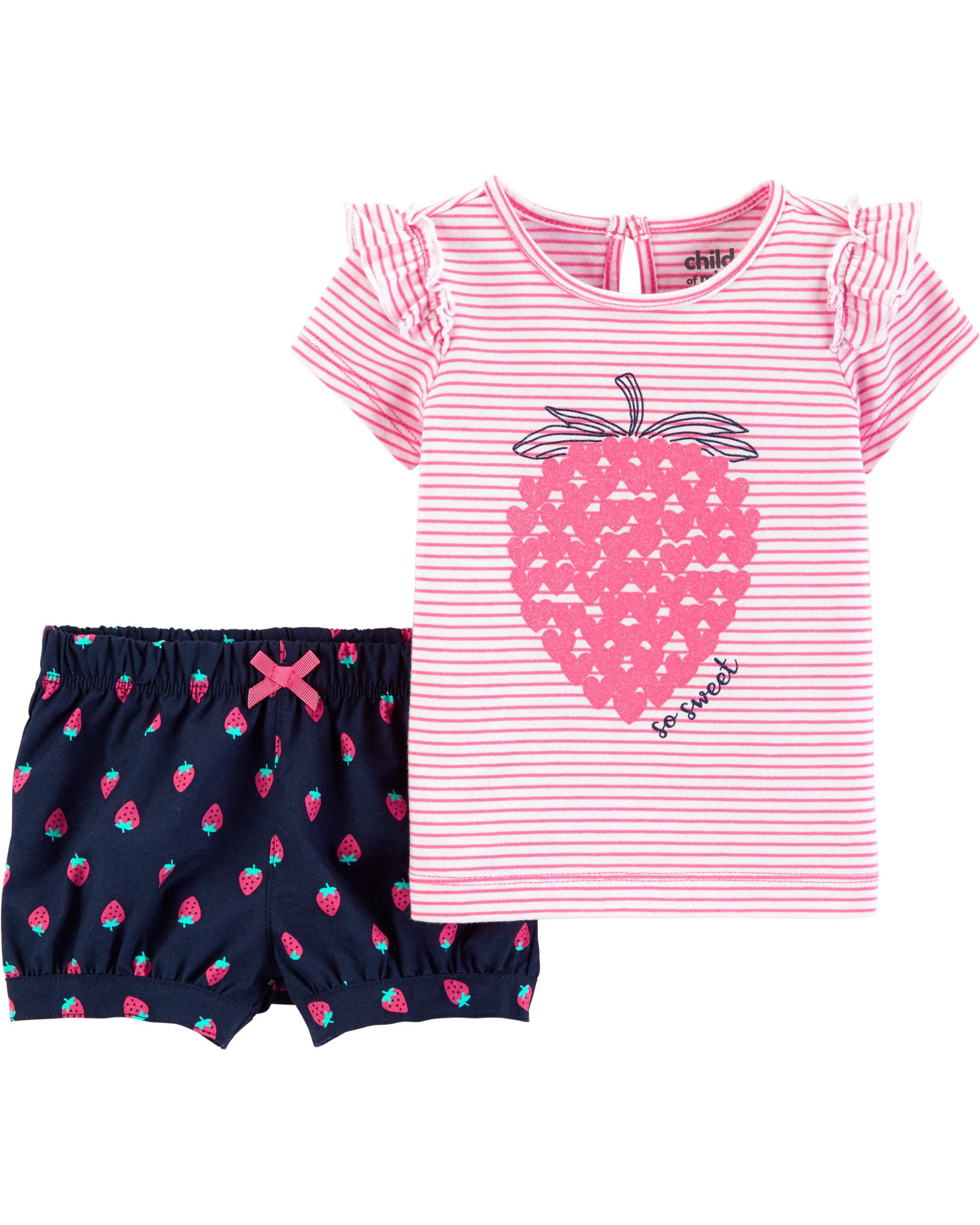 Short Sleeve T-Shirt and Shorts Outfit, 2 Piece Set (Baby Girls)