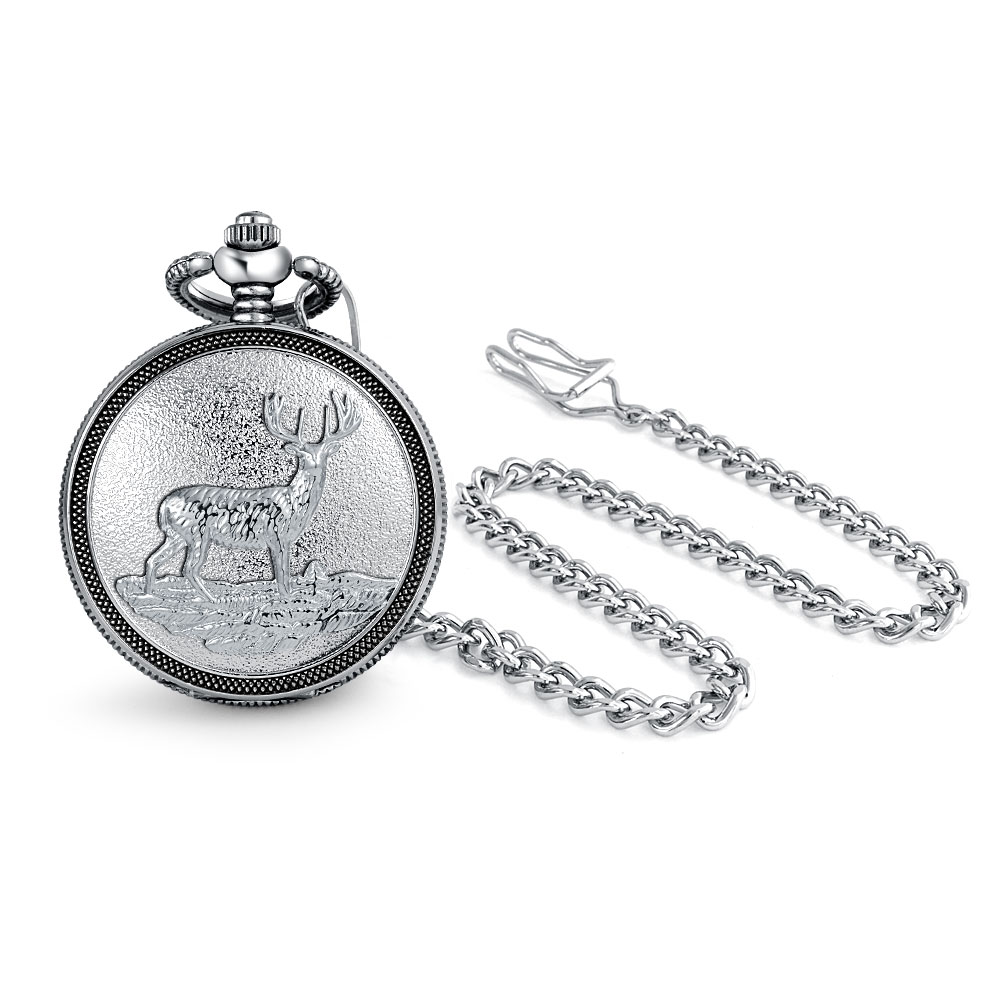 Bling Jewelry Mens Alloy Deer Detail Pocket Watch