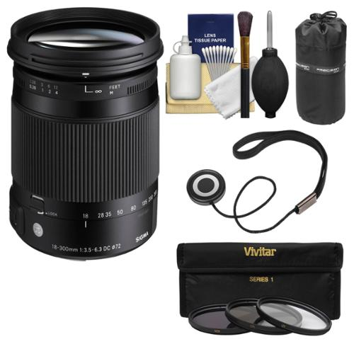 Sigma 18-300mm f/3.5-6.3 Contemporary DC Macro OS HSM Zoom Lens for Nikon DSLR Cameras with Pouch + 3 UV/CPL/ND8 Filters + Kit