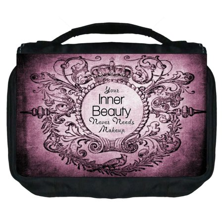 Small Travel Toiletry / Cosmetic Case with 3 Compartments and Detachable Hanger Your Inner Beauty Never Needs Makeup on Vintage - Nerd Makeup