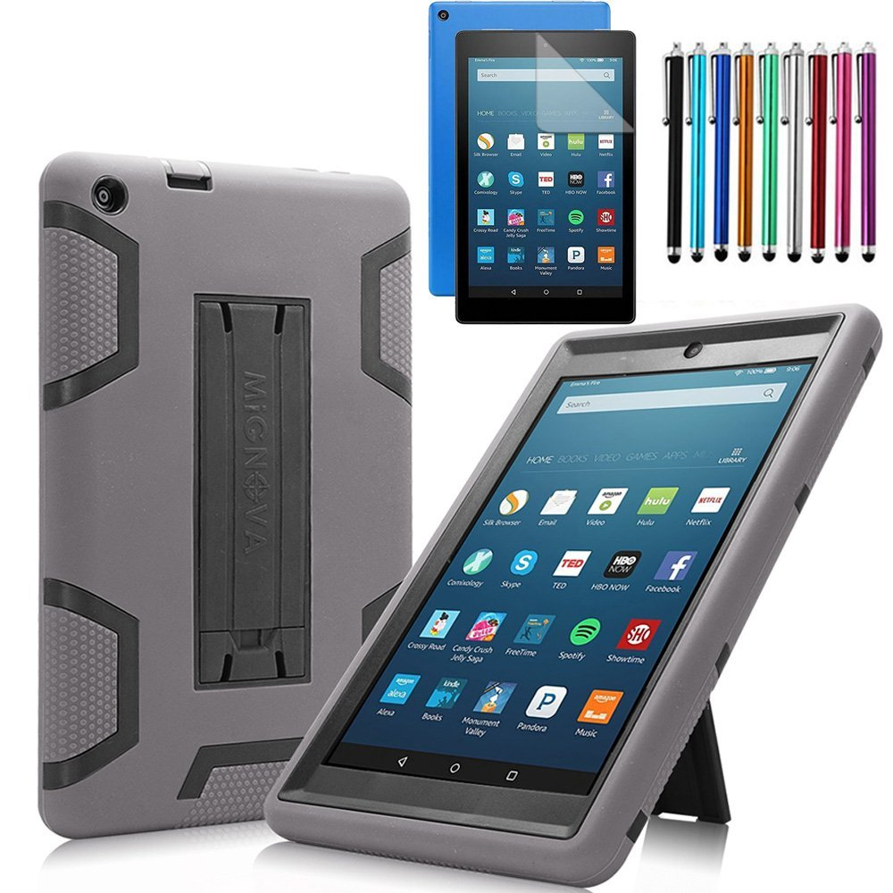 All-New Amazon Fire HD 8 2016 6th Gen Case, Mignova Heavy Duty Armor Defender Kickstand Feature case cover for Amazon Fire HD 8 2016 6th Gen +Screen Protector Film and Stylus Pen (Grey+Black)