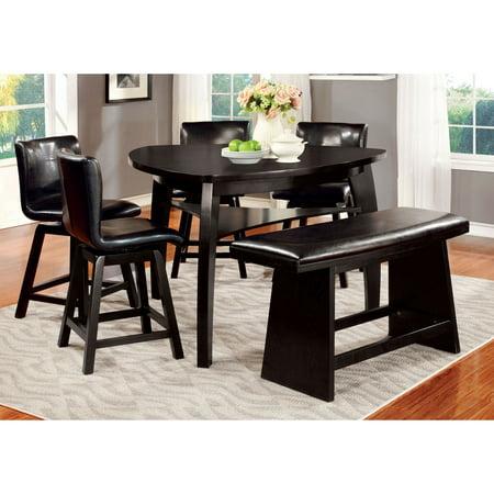 Hurley 6 Pieces Black Triangular Counter Height Table Set Walmartcom