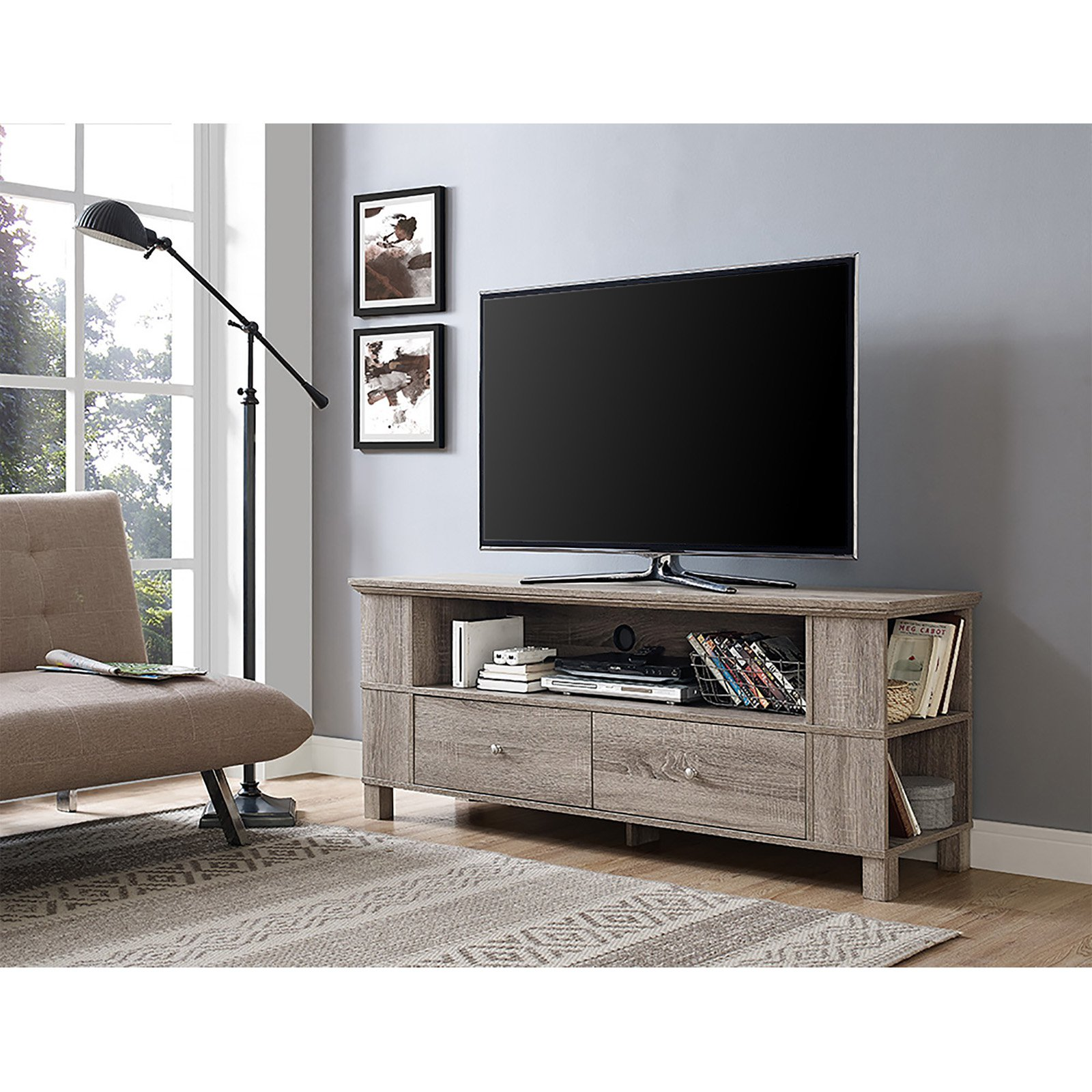 "Wood TV Media Storage Stand for TV's up to 65"", Driftwood"