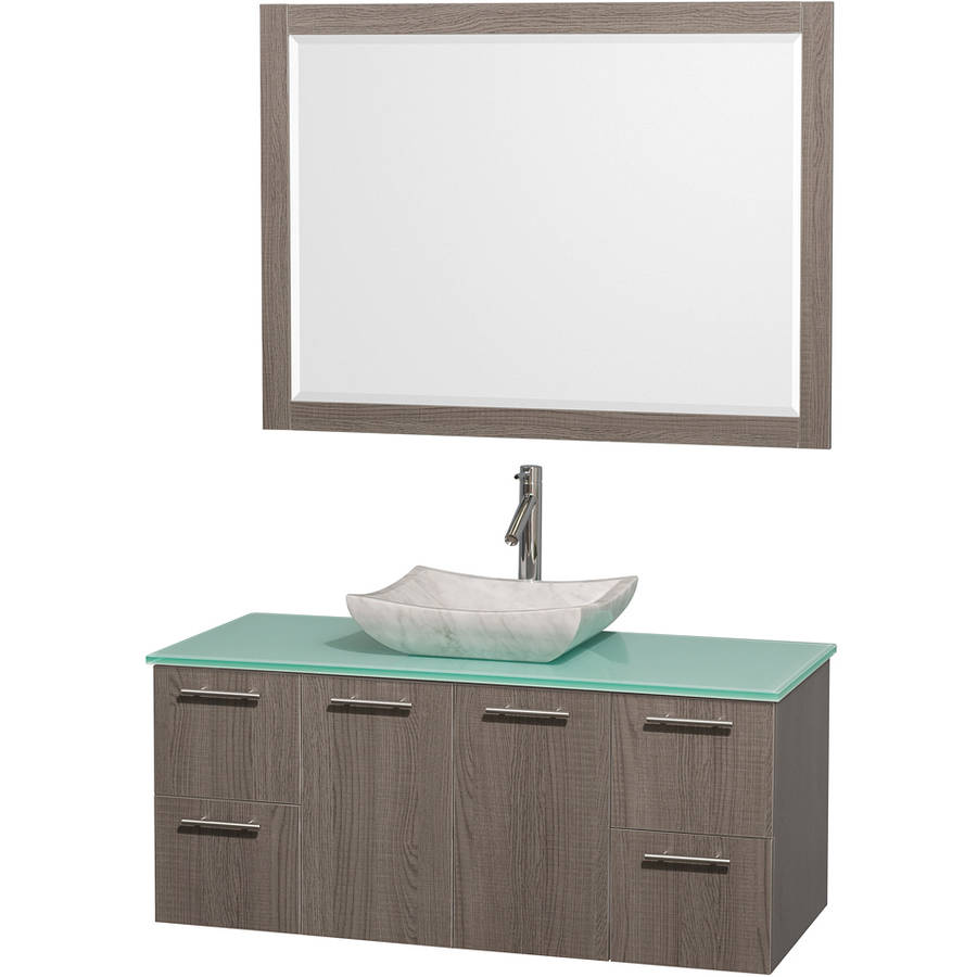 Wyndham Collection Amare 48 inch Single Bathroom Vanity in Gray Oak with Green Glass Top with Carrera Marble Sink, and 46 inch Mirror
