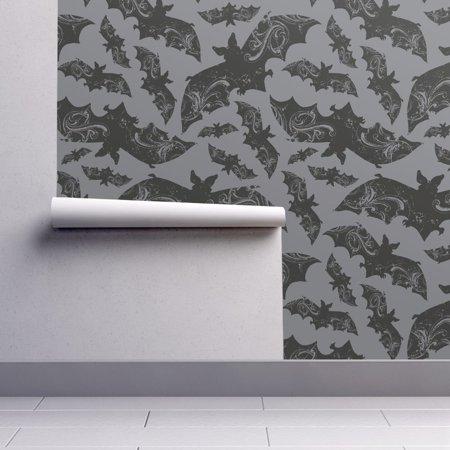 Wallpaper Roll Bat Bats Animal Halloween Wings Grey Gothic 24in x 27ft](Halloween Wallpaper Mac Os X)